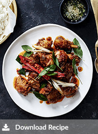 [Stir-fried red curry of chicken]