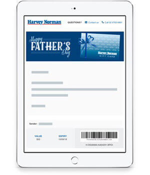 Gift cards ecards vouchers online harvey norman australia e gift cards negle Image collections