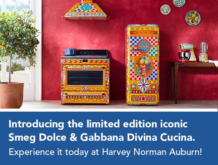 Introducing the limited edition iconic Smeg Dolce & Gabbana Divina Cucina. Experience it today at Harvey Norman Auburn!