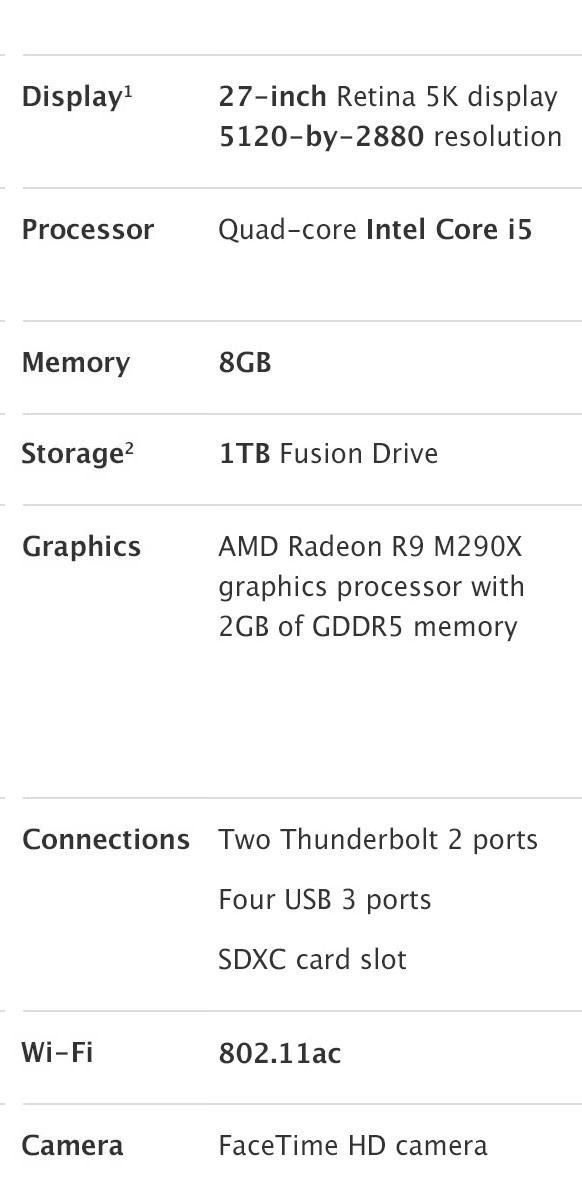 iMac 27 inch Redina 5K Display details